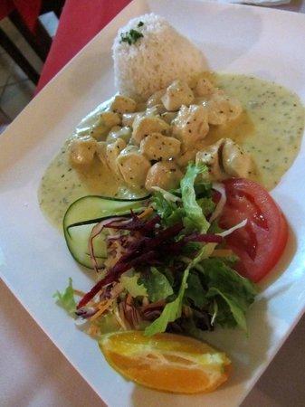 Restaurante Casa Esmeralda: Chicken in gorgonzola cheese sauce with rice - very nice