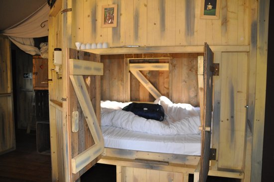 Feather Down Farms at Aller Farm: The cupboard bed - kids will fight over this!
