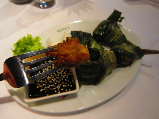 Rama V: My Gai-Hor Bai Dtoei which is chicken wrapped in pandan leaves with sweet and sour sauce.