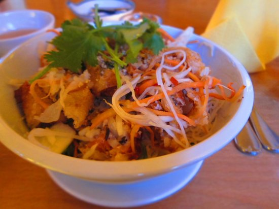 Quan Van: My spring roll and vermicelli noodle dish - absolutely fantastic