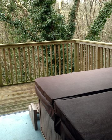 Tree top adventure picture of haulfryn finlake for Balcony hot tub
