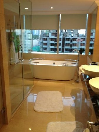 Raffles Makati: our bathroom , not a great view but it is Manila after all