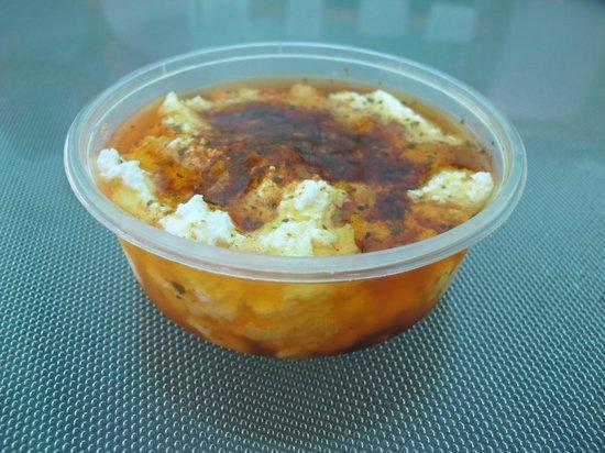 Huon Valley Caravan Park: Tub of fresh cheese