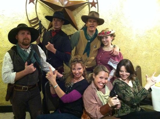 """Texas Star Dinner Theater: Posing with the cast of """"Write Between The Eyes"""""""