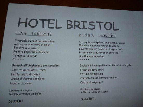 Hotel Bristol: de menu kaart, elke dag verschillend en veel keuze