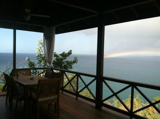 Secret Bay: farewell rainbow from Honeymoon veranda