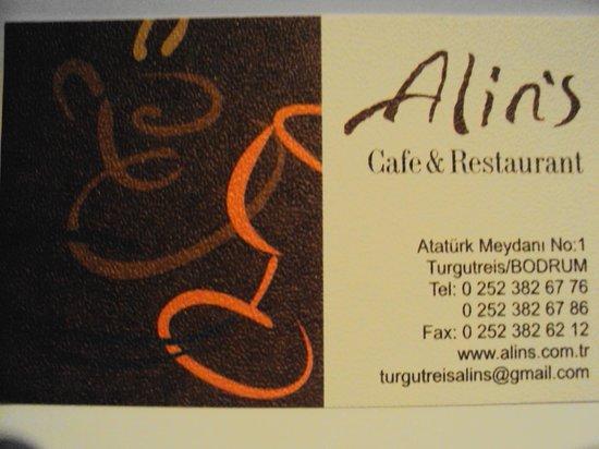 Alins Cafe Restaurant Carte De Visite