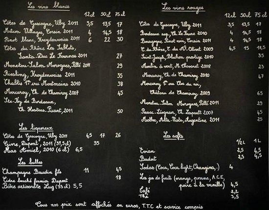 L'Affineur' Affiné : carte des vins