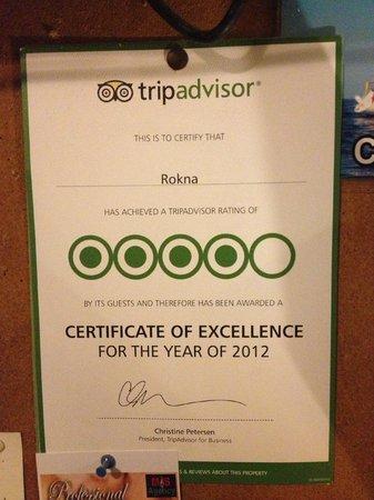 Rokna: TripAdvisor certificate