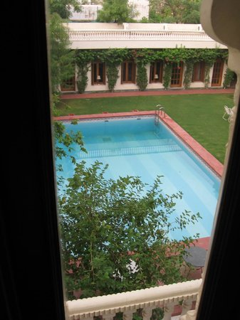 Hotel Meghniwas: View of the courtyard and pool from my room.