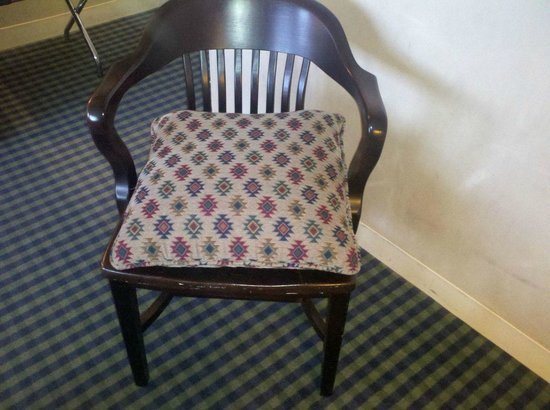 Millennium Harvest House: this is the easy chair in Millenium rooms--an old desk chair and pillow