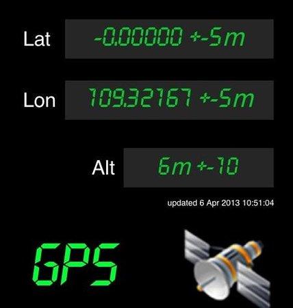 Equator Monument: GPS reading at new milestone