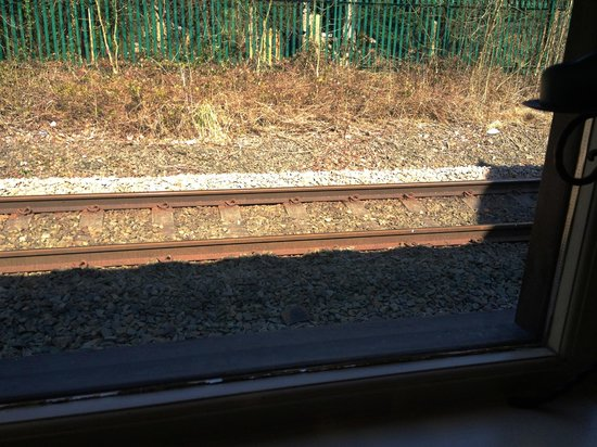 The Cheshire Line Tavern: Track side view from a window table