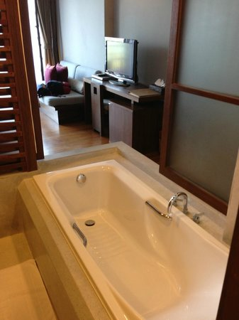 Haven Resort: semi-open bath tub, can see seaview