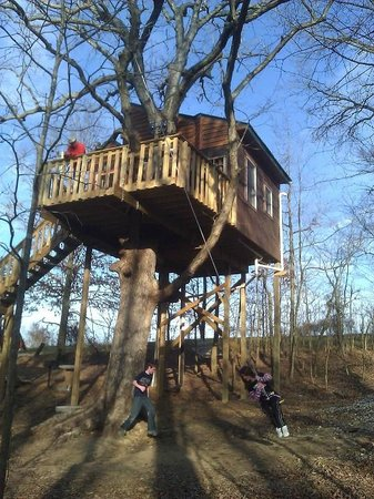 Timber Ridge Outpost & Cabins: White Oak Treehouse playing on the swing