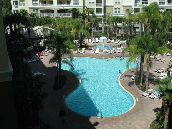 Vacation Village at Parkway: Pool view from corridor beside elevators on our floor