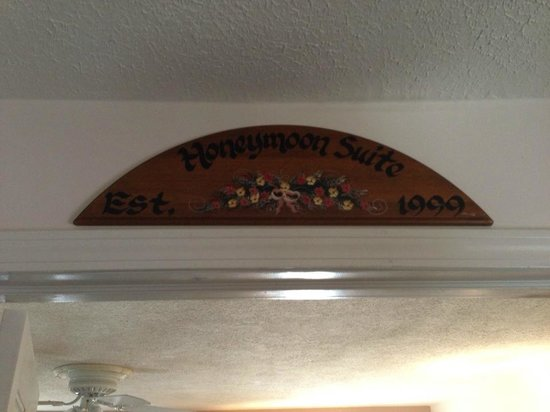 Emerald Necklace Inn: The Honeymoon Suite Sign
