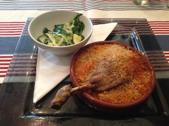 The Bistro: Confit of duck cassoulet with wilted greens and a Parmesan crb - divine!