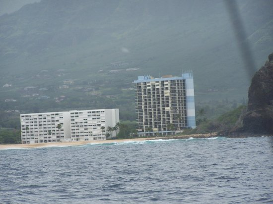 Makaha Beach Cabanas: View of building from charter boat - On left