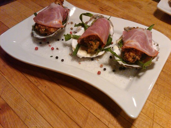 Frank's Cucina a Italian Supper Club: Fried oysters wrapped in coppa with truffle oil