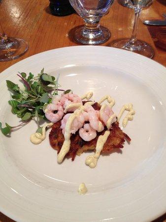 Damariscotta River Grill: Maine shrimp on potato appetizer