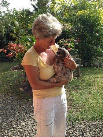 Casa Mariposa: Meine Frau Monica mit dem Faultier Sämeli