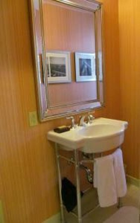 Washington Marriott Wardman Park: Not a lot of vanity space, we used the shelf underneath