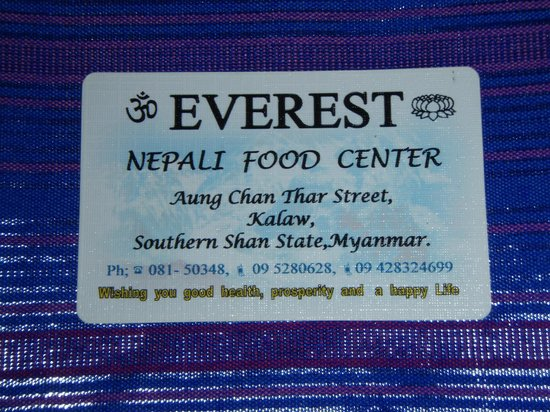 everest nepali food centre : Everest Restaurant - Kalaw