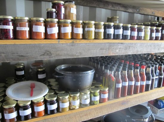 Huon Valley Caravan Park: An impressive store of peserved sauces and chutneys to last them all winter