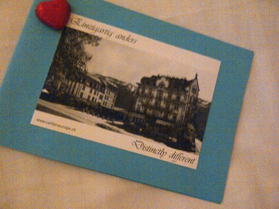 Carlton-Europe Hotel: Welcome card