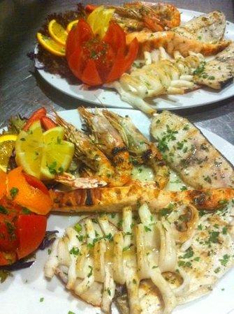 Do Brazil: fish churrasco: freshly grilled sea bass, calamari, salmon, sword fish, king prawns