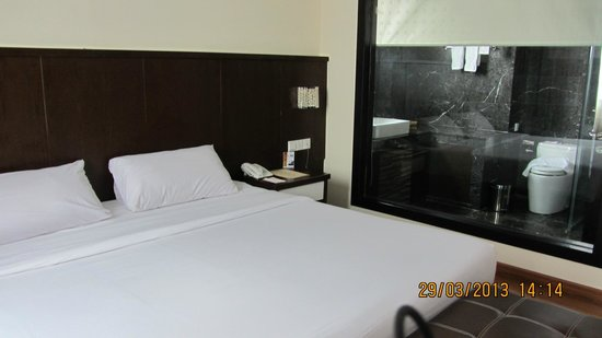 The BCC Hotel & Residence: view of the bathroom from the bed