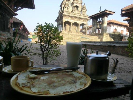 Shiva Guest House1 & 2: breakfast outside the restaurant