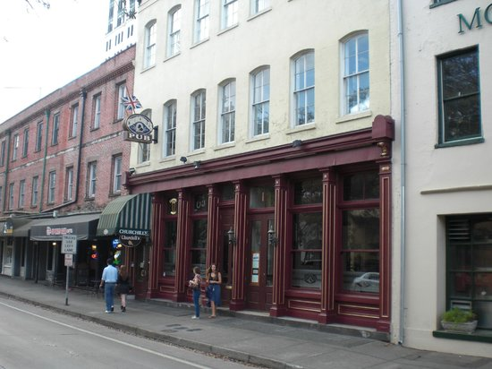 Street front of Churchill's Pub
