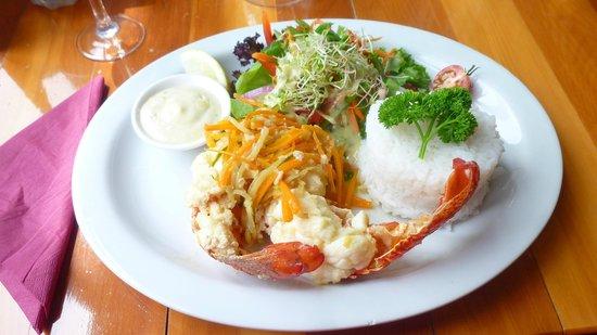 South Sea Hotel dining room and pub: Secondo piatto aragosta con verdure e riso