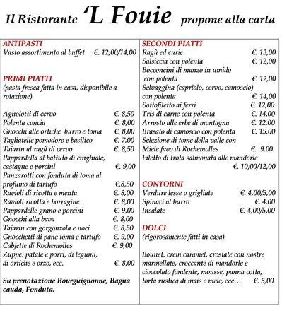 Бардонеккья, Италия: Proposta menu alla carta