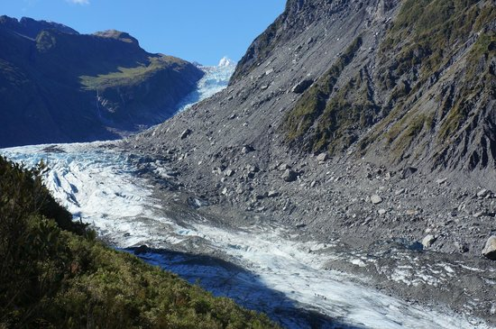 Fox Glacier, New Zealand: A view across the glacier from the rainforest section of our walk.