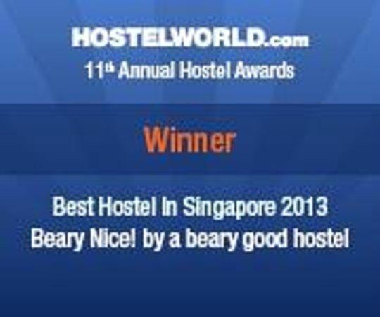 Beary Nice! by a beary good hostel: We won! Singapore's Best Hostel 2013 award =)