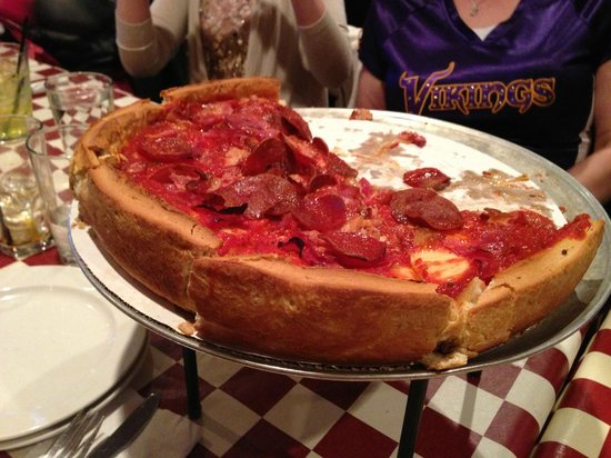 Giordano's: Deep dish heaven...this was the meat pizza.