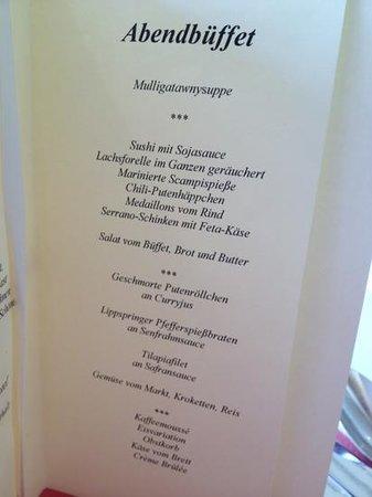 Speisekarte 6 4 13 Bild Von Vital Hotel Westfalen Therme Bad