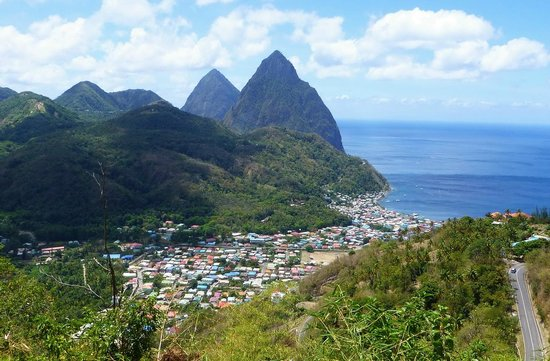 The Inn On The Bay: The Pitons and town of Soufriere