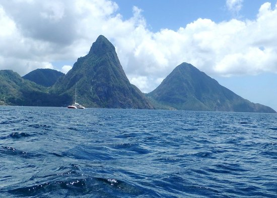 The Inn On The Bay: Sea view of the Pitons from our water taxi down south coast