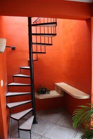 Luz En Yucatan: Spiral staircase to Rooftop Terrace