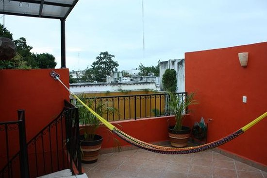 Luz En Yucatan: View from Rooftop Terrace, stairway and hammock