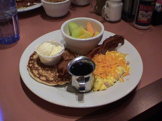 Best Western Plus Landmark Inn & Pancake House: My choice from their menu. I also had a glass of milk and the pancakes were unlimited. Anything