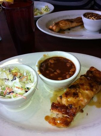 Heroes West Sports Grill: Whiskey Glazed Salmon with two sides