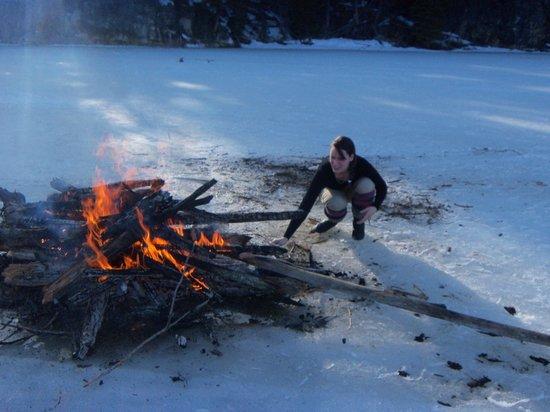 Idabel Lake Resort: Our big ice lake fire