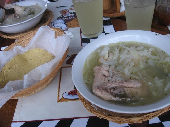 Dawn's Grill : Served with tortillas! (we had the lime juice - delicious!)