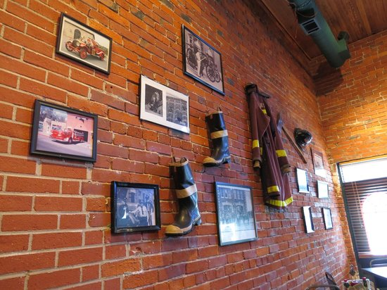 The Engine House Cafe: Items on the walls are donated by firefighters or their families