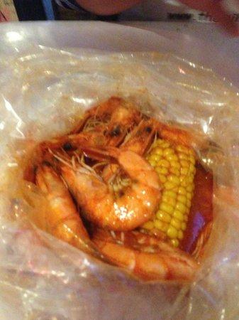 Boiling Crab: shrimp and corn